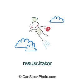 resuscitator flies to the patient