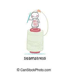 seamstress stands on a large skein of thread and needle...