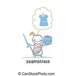 seamstress holding thread and needle and thinks about the...