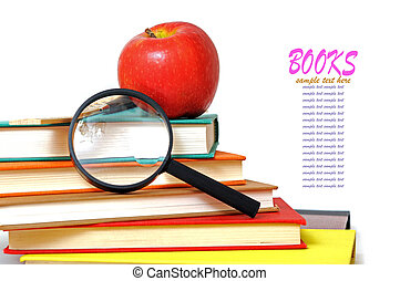 education concept with apple, book and magnifying