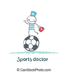 Sports doctor sits on a huge soccer ball