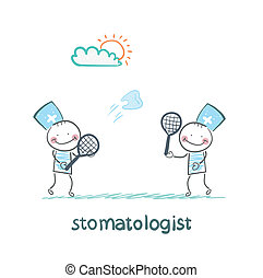 stomatologist playing badminton tooth