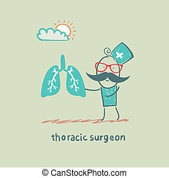 thoracic surgeon with light