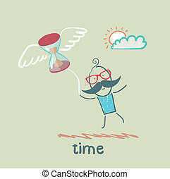 man flying with an hourglass