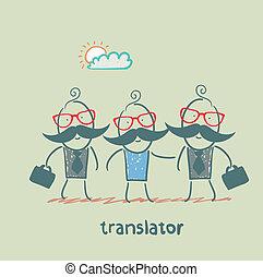 translator helps foreign businessmen