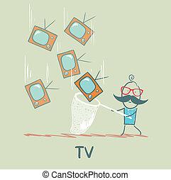 man catches a butterfly net TV