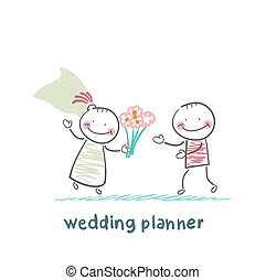 wedding planner with the bride