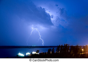 Lightning over the river Volga Volgograd Russia
