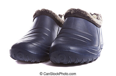 Warm galoshes on white background