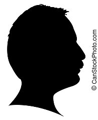 Silhouette of a mans head in black, vector