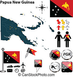 Map of Papua New Guinea - Vector of Papua New Guinea set...