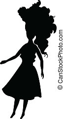 a doll with long hair, silhouette v