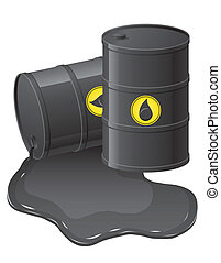 black barrels with spilled oil vector illustration isolated...