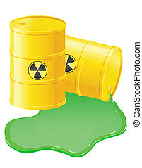 yellow barrels spilled radioactive waste vector illustration...