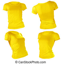womens blank yellow t-shirt template - womens blank yellow...
