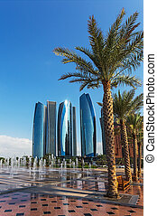 Skyscrapers in Abu Dhabi, UAE - Skyscrapers in Abu Dhabi,...