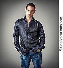 young sexy man wearing black shirt