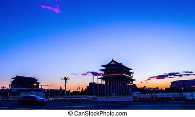 The Qianmen gate tower in the dusk,Beijing,China