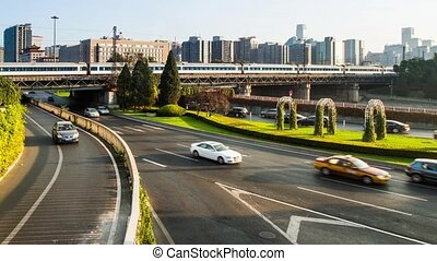 The traffic near Beijing Railway Station,China