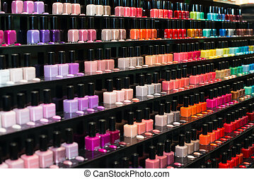 Set of color nail polish. nail polish collection