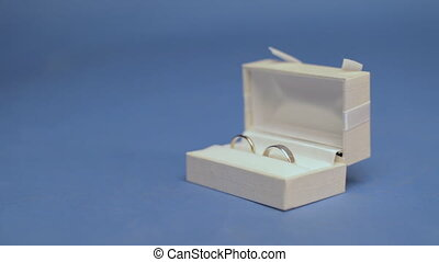 Two wedding rings in the white box on the blue screen