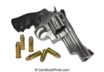 Large caliber revolver with ammo - Large caliber revolver...
