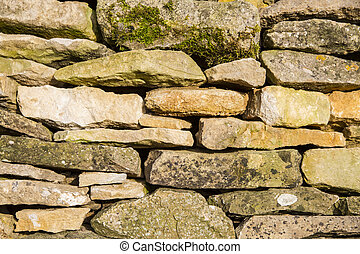Cotswold Drystone Wall - Close up of cotswold drystone wall,...