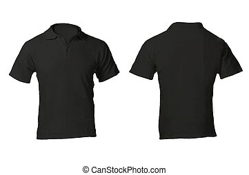 Men's Blank Black Polo Shirt Template - Men's Blank Black...