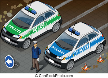 Isometric German Police Car - Detailed illustration of a...