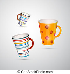 Vector Cups Isolated on White Background