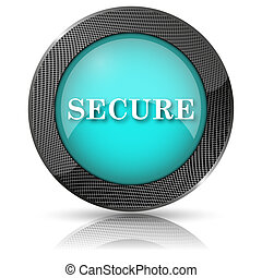 Secure icon - Shiny glossy icon with white design on aqua...