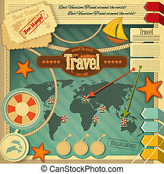 Summer Vacation Card in Vintage Style. Retro Travel Postcard...