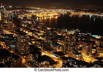 Nighttime in Seattle, USA