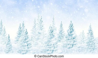 Winter frosty Christmas forest