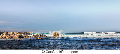 Panorama of Waves Hitting Rocks in Pacific Grove