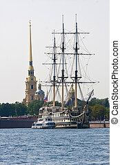 Saint Petersburg - Old sailing ship on Neva River, Saint...