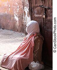 begger - beggar on the street of Marrakesh,Morocco