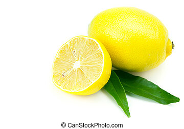 lemon with green leaf isolated on white