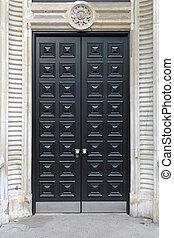 Black door - Closed big double black door