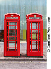 Phone booths - Two red telephone booths in London