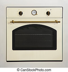 Oven - Retro style beige oven with brass details
