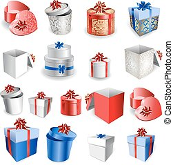 Set of Colorful Gift Boxes With Bows And Ribbons. - Set of...