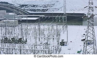 power plant in winter, pan shoot