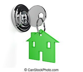 Lock and key with home shaped keyring home, white background