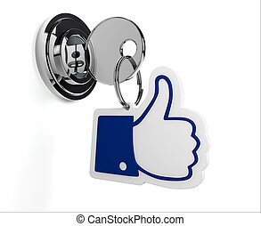 Lock with like keyring and white background