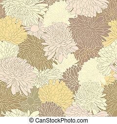 Floral Pattern Background With Chrysanthemum - Floral...