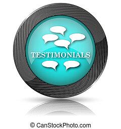 Testimonials icon - Shiny glossy icon with white design on...