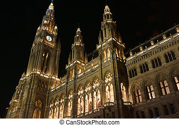 Vienna City Hall at Christmas - Beautifully illuminated...