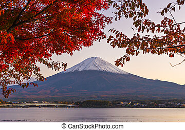 Mt Fuji with fall Foliage in Japan