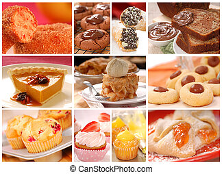 Collage showing a variety of delicious baked goods including...